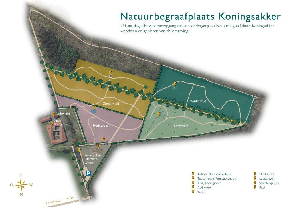 Natuurbegraafplaats koningsakker plattegrond, Estia Uitvaarten